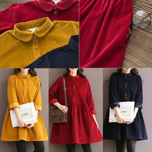 Laden Sie das Bild in den Galerie-Viewer, Navy causal oversize corduroy dress retro cotton spring dresses