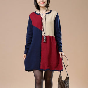 Navy color blocks woman sweater