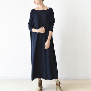 Navy cotton catans oversized cotton dresses long plus size shirts bust 200cm