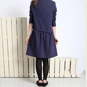 Navy cotton plus size spring dress long sleeve fit flare dress