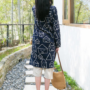 Navy cotton shirt long sleeves dress women blouse top Happy house print