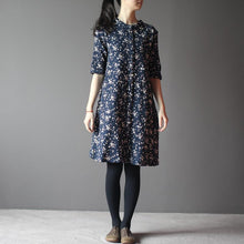 Load image into Gallery viewer, Navy cotton sundress half sleeve linen summer dresses