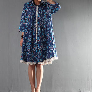 Navy daisy print sundress casual plus size maternity cotton dress linen clothing