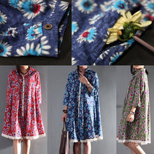 Load image into Gallery viewer, Navy daisy print sundress casual plus size maternity cotton dress linen clothing