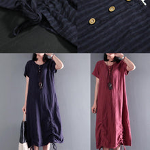 Load image into Gallery viewer, Navy drawstring linen maxi dress for summer unique long sundresses