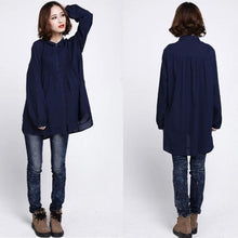 Load image into Gallery viewer, Navy elegant cotton blouses long sleeve cotton dresses