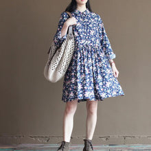 Load image into Gallery viewer, Navy floral cotton sundress half sleeve fit flare dresses