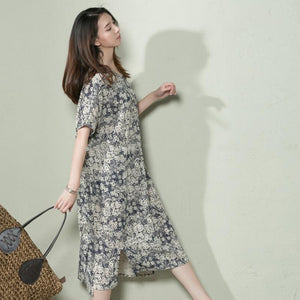Navy floral linen summer maxi dress loose long sundress casual holiday dresses