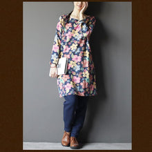 Load image into Gallery viewer, Navy floral spring dress cotton summer dress Three Quarter Sleeves