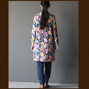 Navy floral spring dress cotton summer dress Three Quarter Sleeves