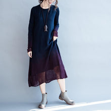 Load image into Gallery viewer, Navy flowy pure cotton maxi dresses long sleeve cotton dress oversize caftans