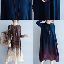 Laden Sie das Bild in den Galerie-Viewer, Navy flowy pure cotton maxi dresses long sleeve cotton dress oversize caftans