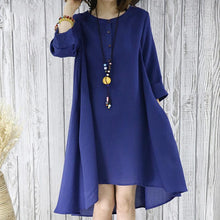 Load image into Gallery viewer, Navy flowy summer dress plus size sundresses women blouse top