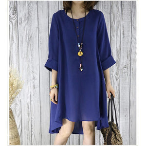 Navy flowy summer dress plus size sundresses women blouse top