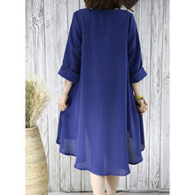 Laden Sie das Bild in den Galerie-Viewer, Navy flowy summer dress plus size sundresses women blouse top