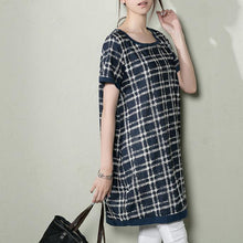 Laden Sie das Bild in den Galerie-Viewer, Navy grid oversize shift sundress summer dresses linen shirt