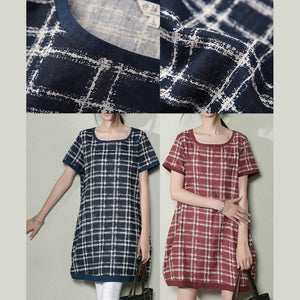 Navy grid oversize shift sundress summer dresses linen shirt