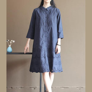 Navy hollowed hem patchwork cotton dress shift dresses
