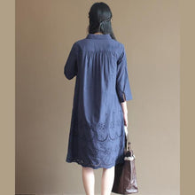 Laden Sie das Bild in den Galerie-Viewer, Navy hollowed hem patchwork cotton dress shift dresses