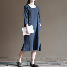 Load image into Gallery viewer, Navy linen dresses bust button details long linen maxi dresses