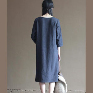 Navy linen dresses bust button details long linen maxi dresses