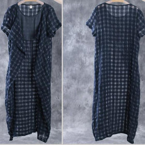 Navy linen dresses layered maxi dress summer caftans two pieces