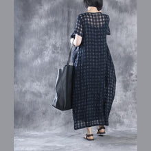 Load image into Gallery viewer, Navy linen dresses layered maxi dress summer caftans two pieces