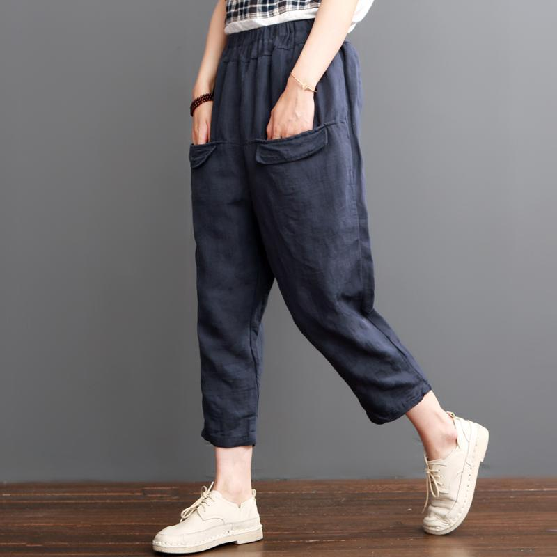 Navy linen pants crop trousers