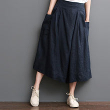 Load image into Gallery viewer, Navy linen pants summer crop wide leg pants