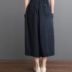 Navy linen pants summer crop wide leg pants