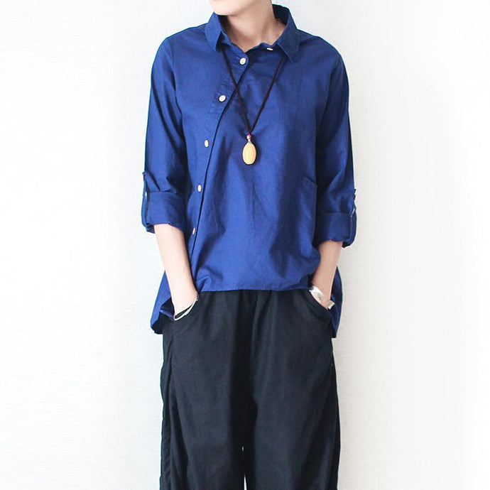 Navy linen shirt asymmetrical cotton t shirt womens top