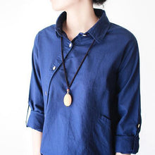 Laden Sie das Bild in den Galerie-Viewer, Navy linen shirt asymmetrical cotton t shirt womens top