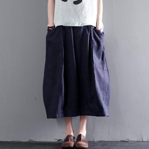 Navy linen skirt Summer causal skirts women plus size