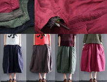 Load image into Gallery viewer, Navy linen skirt Summer causal skirts women plus size