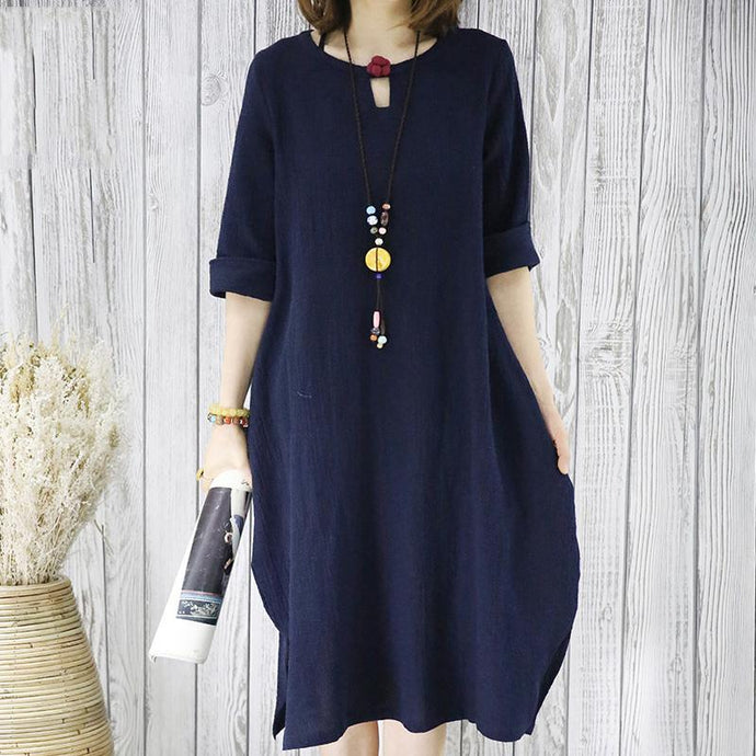Navy linen summer shift dress plus size sundress casual maternity shirt dress