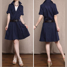 Laden Sie das Bild in den Galerie-Viewer, Navy linen sundress fit flare cotton dress knee length