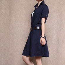 Load image into Gallery viewer, Navy linen sundress fit flare cotton dress knee length