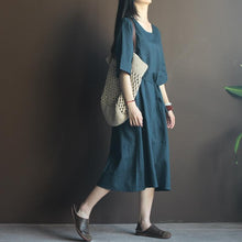 Laden Sie das Bild in den Galerie-Viewer, Navy linen sundress half sleeve plus size maxi dress summer casaul dresses