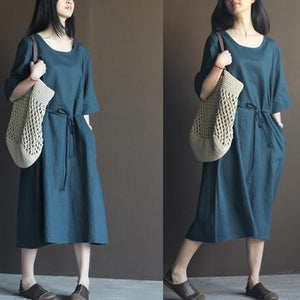 Navy linen sundress half sleeve plus size maxi dress summer casaul dresses