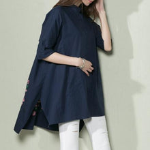 Load image into Gallery viewer, Navy loose women shirt summer dress oversize blouse top