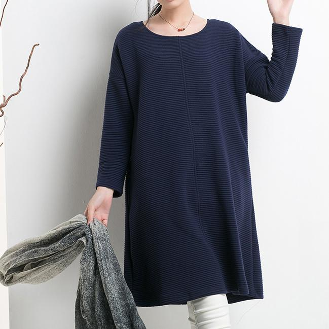 Navy natural cotton shift dress oversize spring shirt blouse cotton clothing