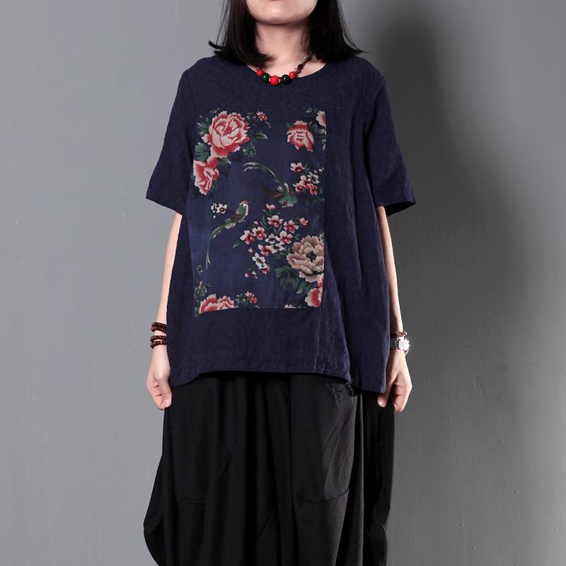 Navy patchwork floral women summer shirt linen blouse