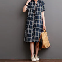 Load image into Gallery viewer, Navy plaid cotton dresses causal maternity maxi dresses sundress