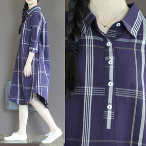 Navy plaid linen sundress plus size long shirt dresses linen clothing