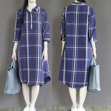 Load image into Gallery viewer, Navy plaid linen sundress plus size long shirt dresses linen clothing