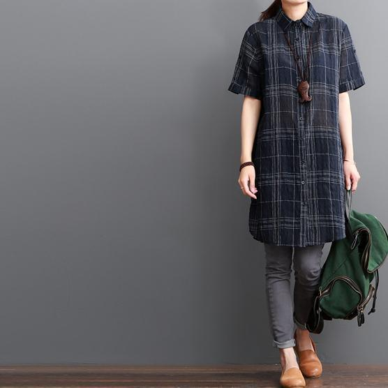 Navy plaid summer shirt women cotton dresses