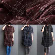 Load image into Gallery viewer, Navy plaid summer shirt women cotton dresses