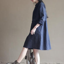 Load image into Gallery viewer, Navy pleated breast cotton dresses original design linen dress