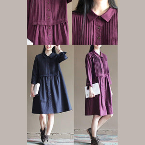 Navy pleated breast cotton dresses original design linen dress