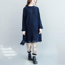 Load image into Gallery viewer, Navy pleated plus size cotton dress fall maternity dresses oversize womens blouse shirts